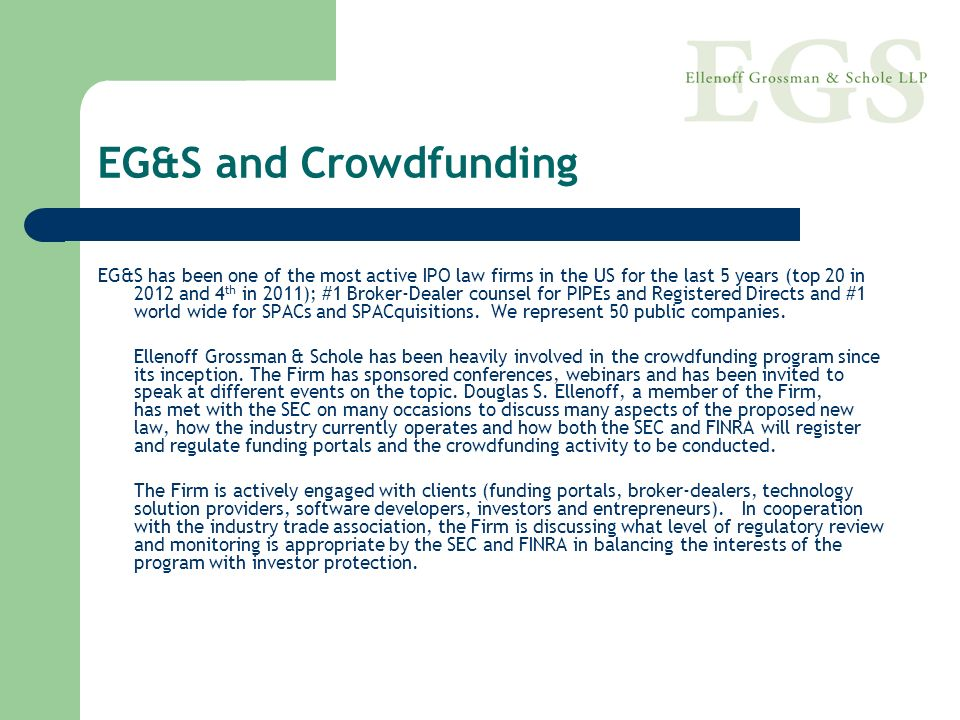 EG&S and Crowdfunding