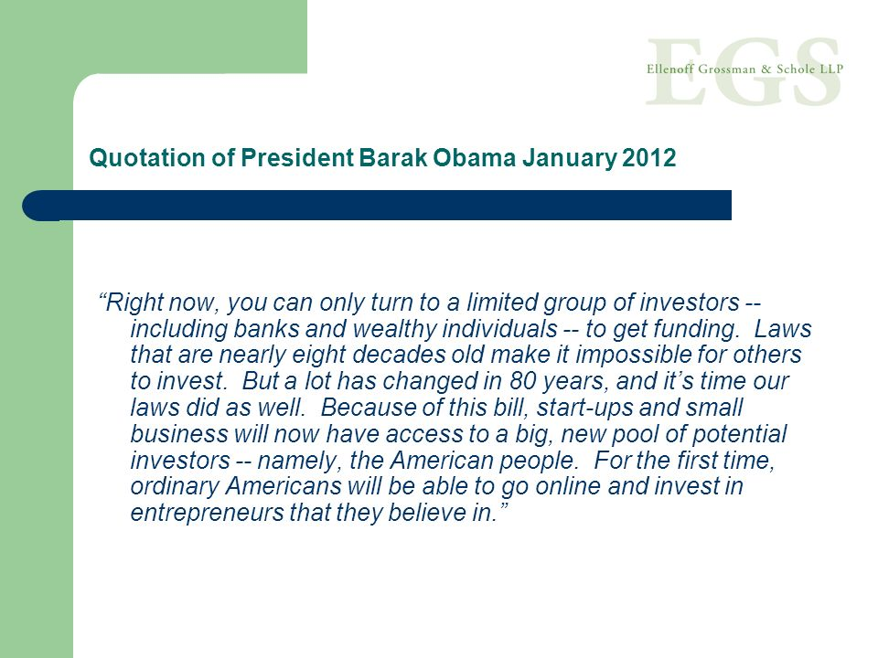 Quotation of President Barak Obama January 2012