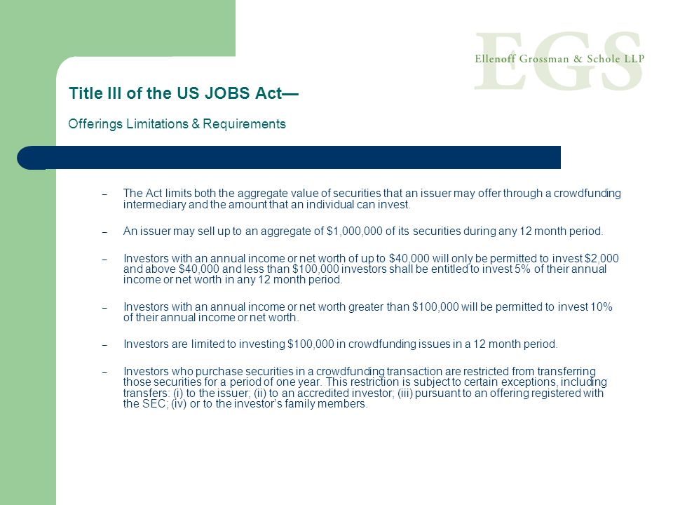 Title III of the US JOBS Act— Offerings Limitations & Requirements