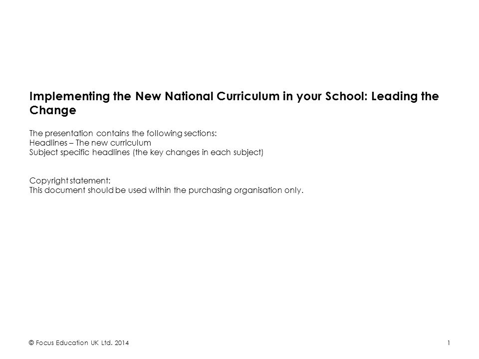 Implementing the New National Curriculum in your School: Leading the Change