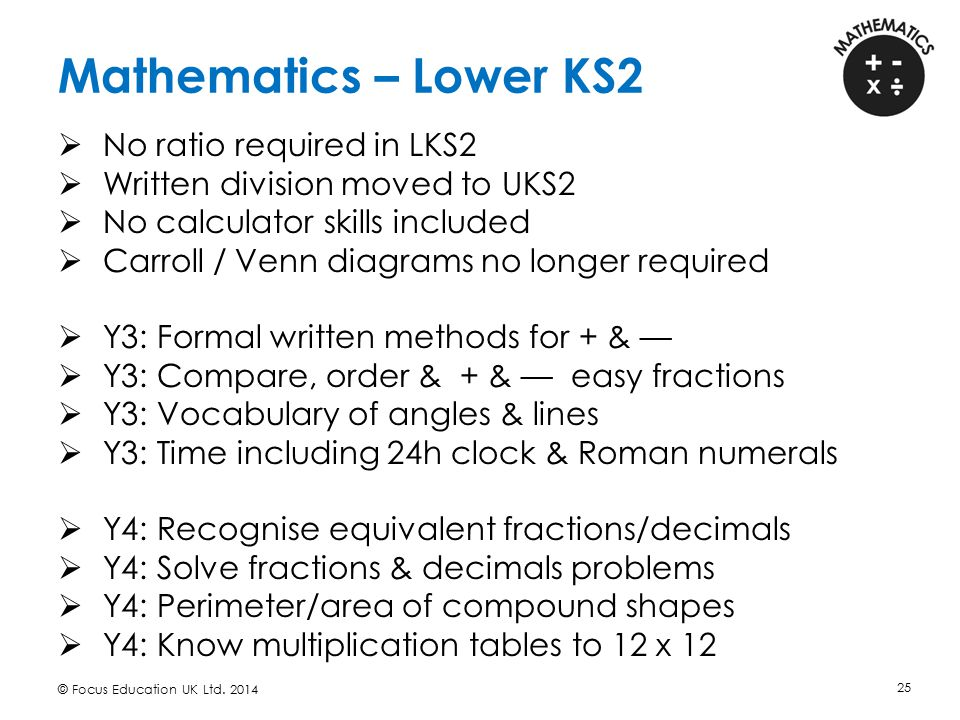 Mathematics – Lower KS2 No ratio required in LKS2