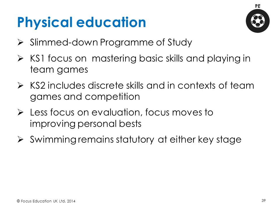 Physical education Slimmed-down Programme of Study