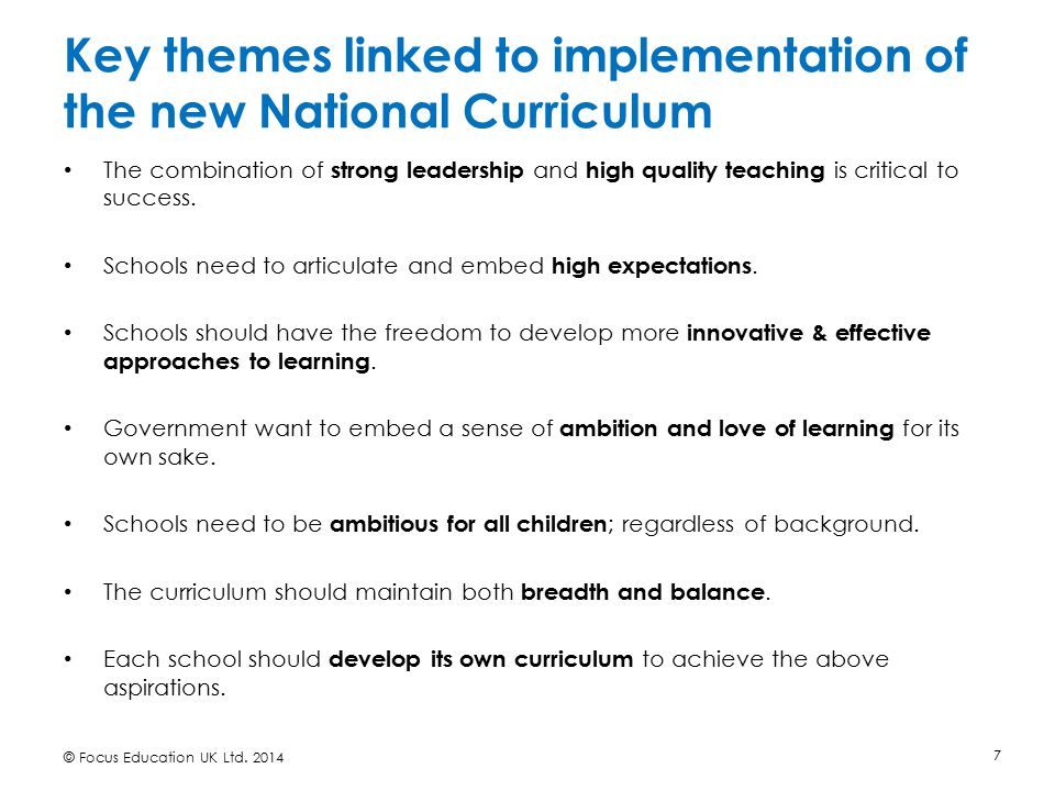 Key themes linked to implementation of the new National Curriculum