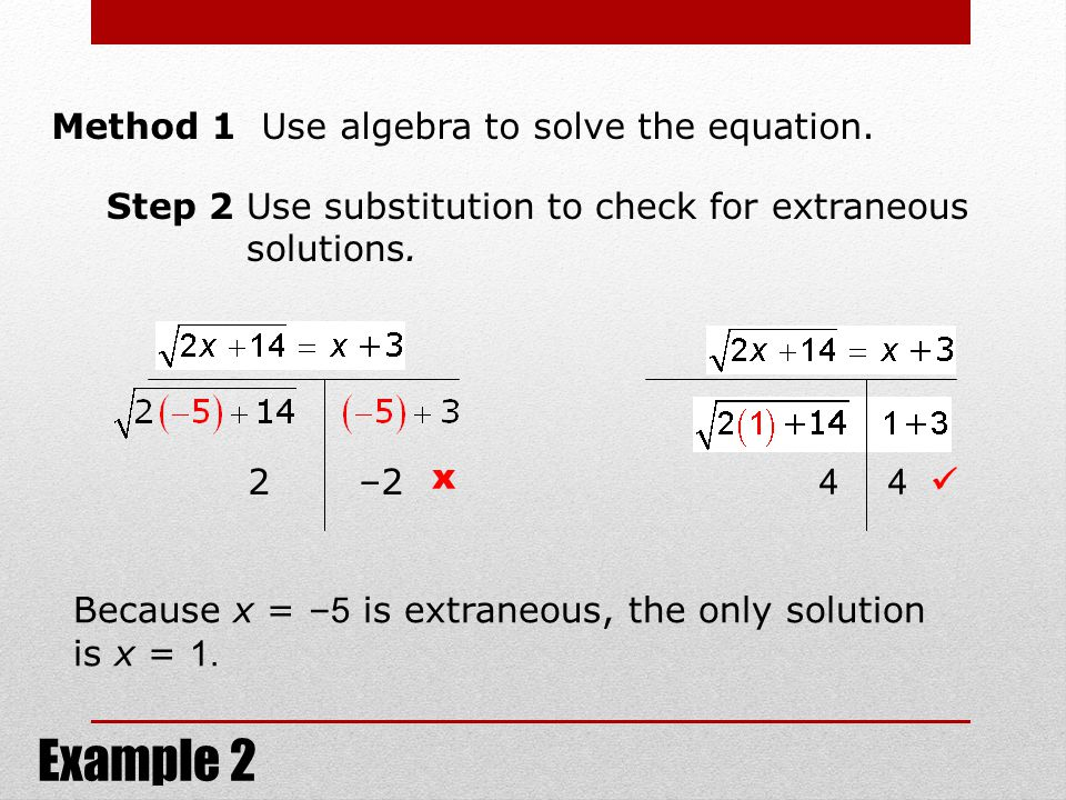 Example 2 Method 1 Use algebra to solve the equation.