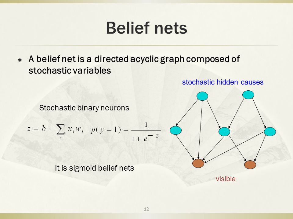 Belief nets A belief net is a directed acyclic graph composed of stochastic variables. stochastic hidden causes.