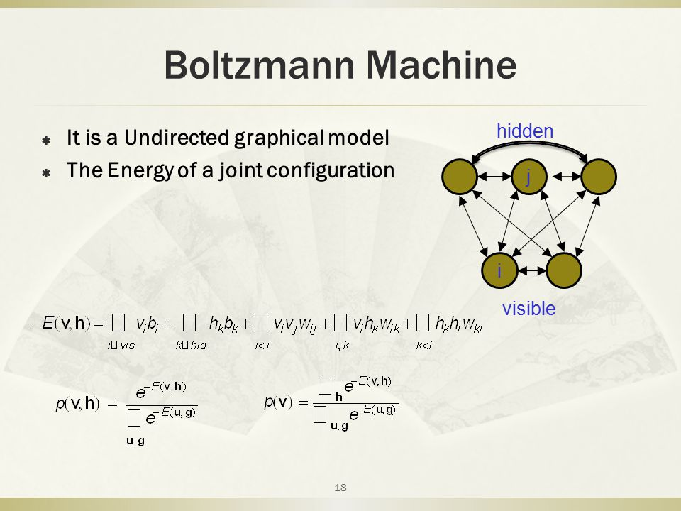 Boltzmann Machine It is a Undirected graphical model