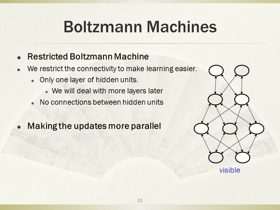 Boltzmann Machines Restricted Boltzmann Machine