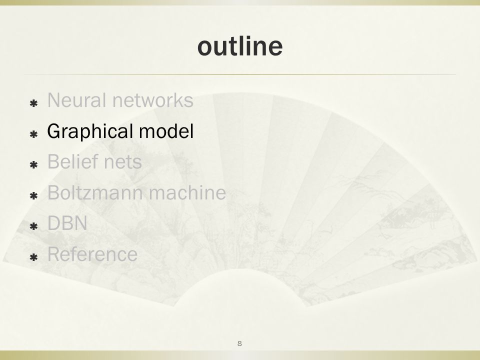 outline Neural networks Graphical model Belief nets Boltzmann machine