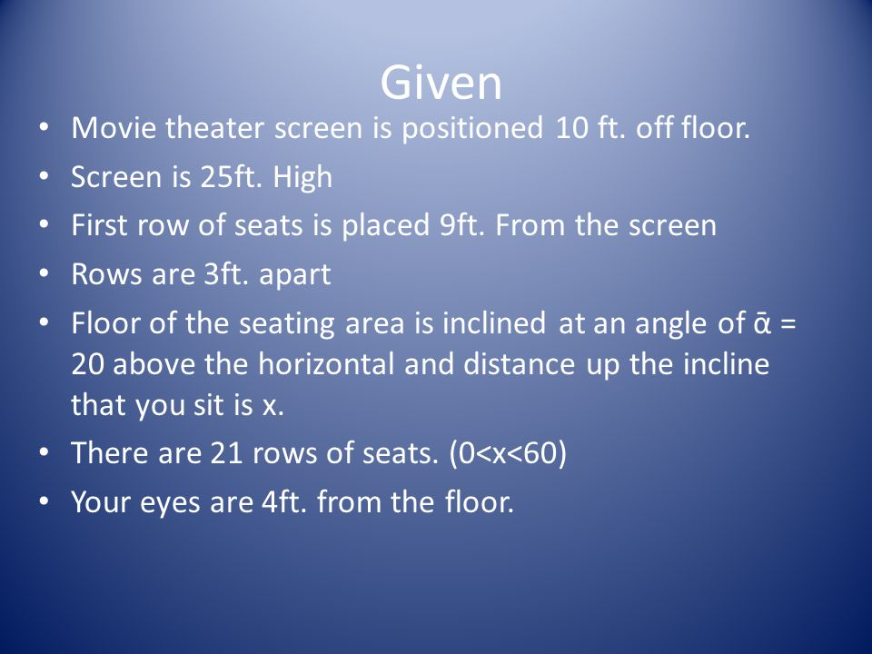 Given Movie theater screen is positioned 10 ft. off floor.