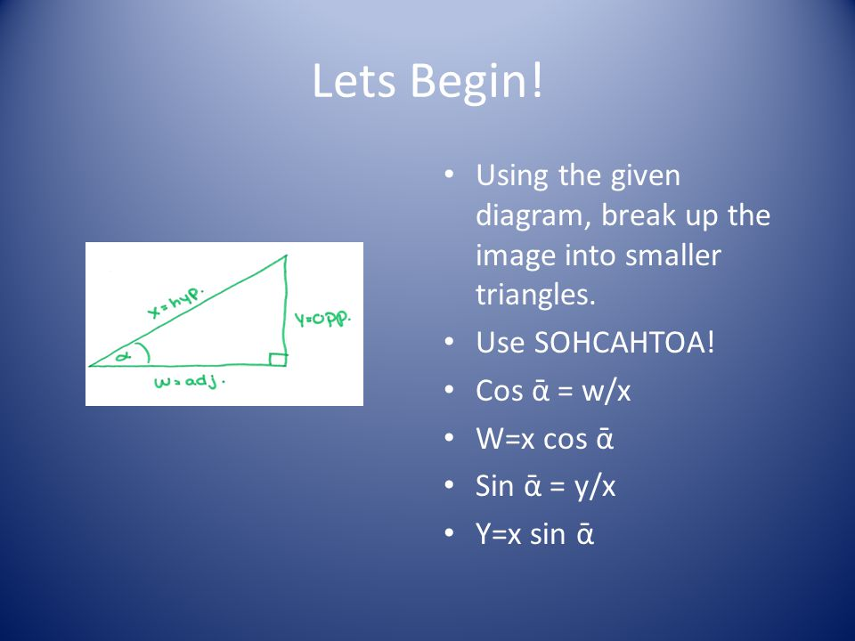 Lets Begin! Using the given diagram, break up the image into smaller triangles. Use SOHCAHTOA! Cos ᾱ = w/x.