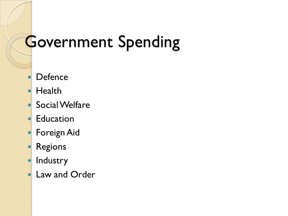 Government Spending Defence Health Social Welfare Education