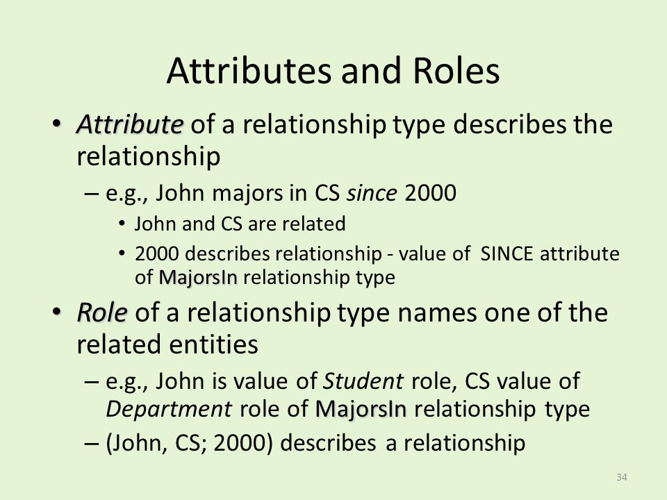 Attributes and Roles Attribute of a relationship type describes the relationship. e.g., John majors in CS since 2000.