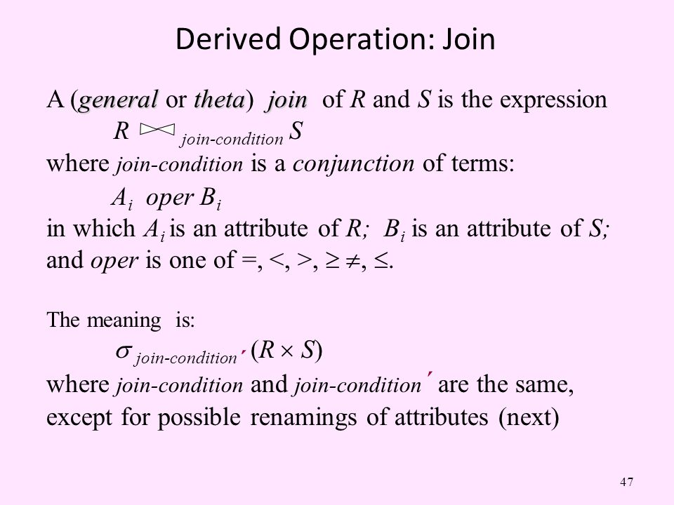 Derived Operation: Join