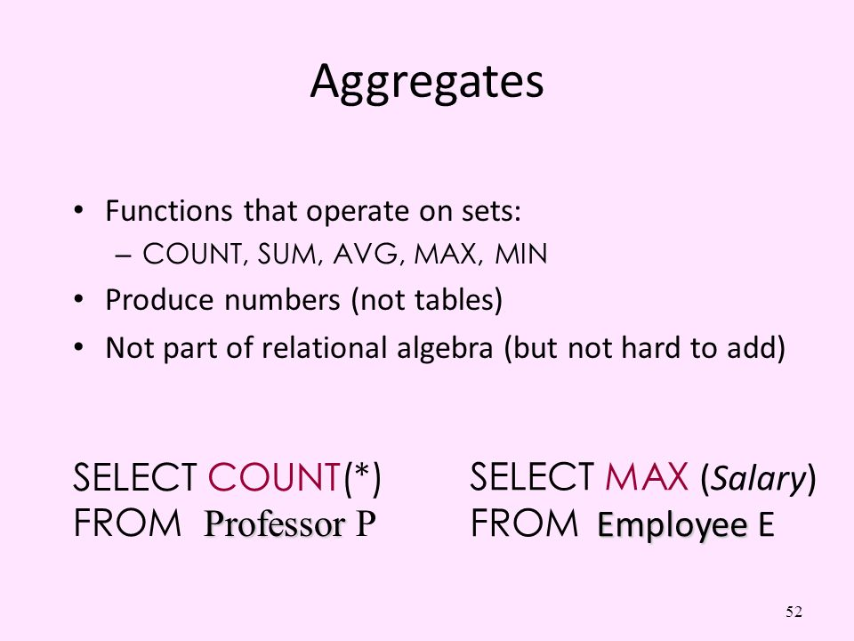 Aggregates SELECT COUNT(*) SELECT MAX (Salary) FROM Professor P