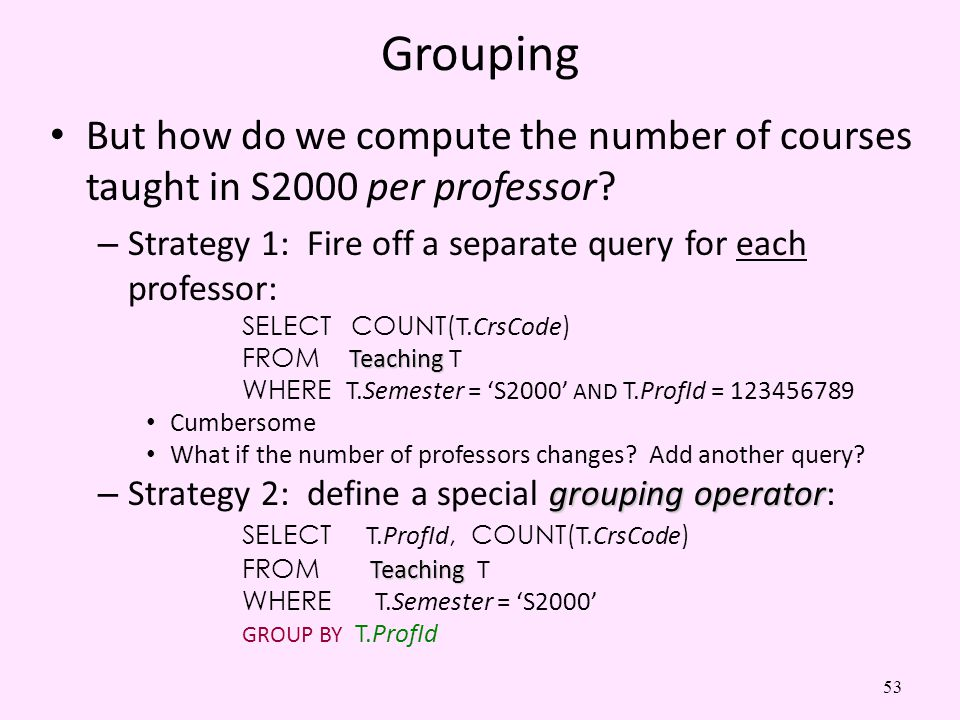 Grouping But how do we compute the number of courses taught in S2000 per professor Strategy 1: Fire off a separate query for each professor: