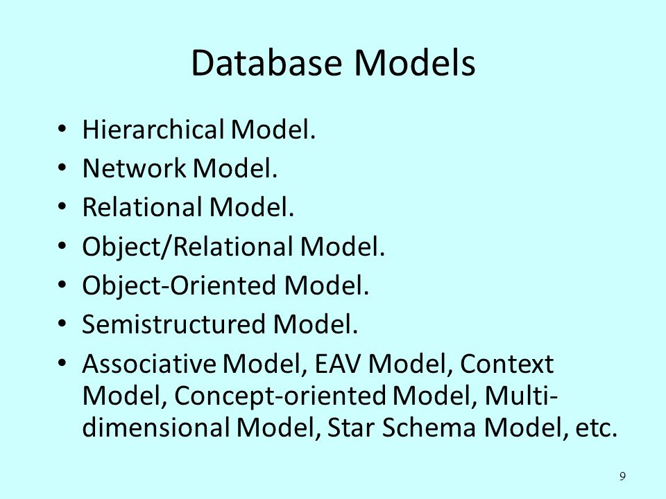 Database Models Hierarchical Model. Network Model. Relational Model.