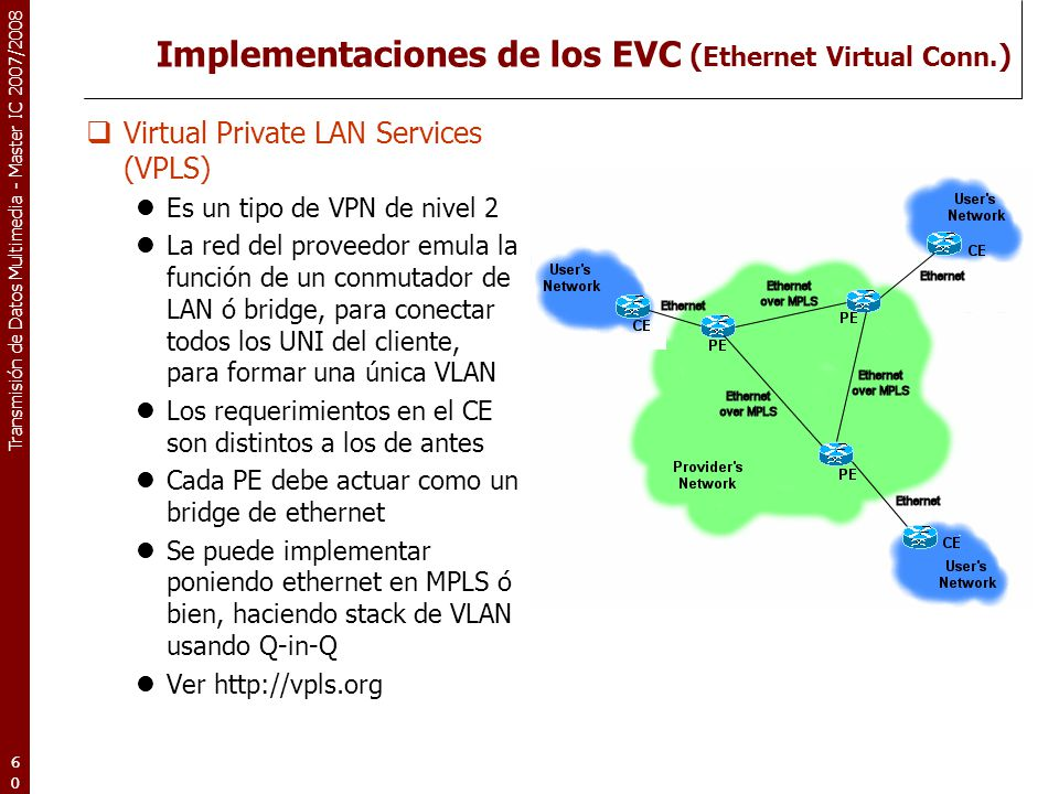 Implementaciones de los EVC (Ethernet Virtual Conn.)