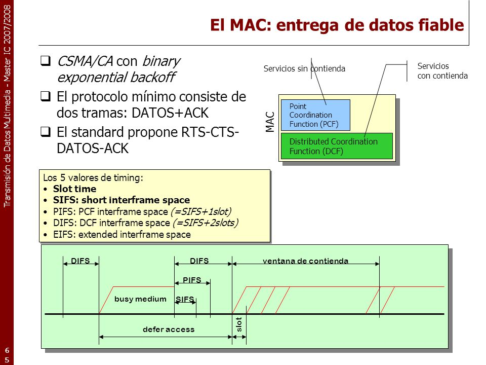 El MAC: entrega de datos fiable
