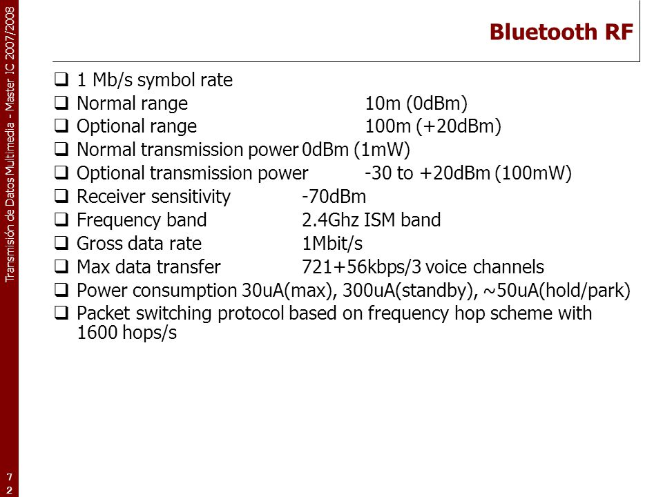 Bluetooth RF 1 Mb/s symbol rate Normal range 10m (0dBm)