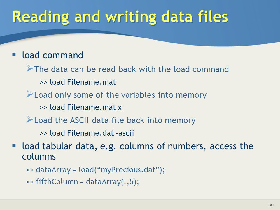 Reading and writing data files