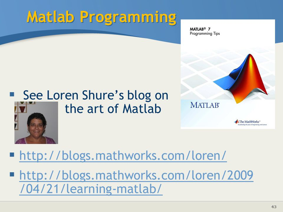 Matlab Programming See Loren Shure's blog on the art of Matlab