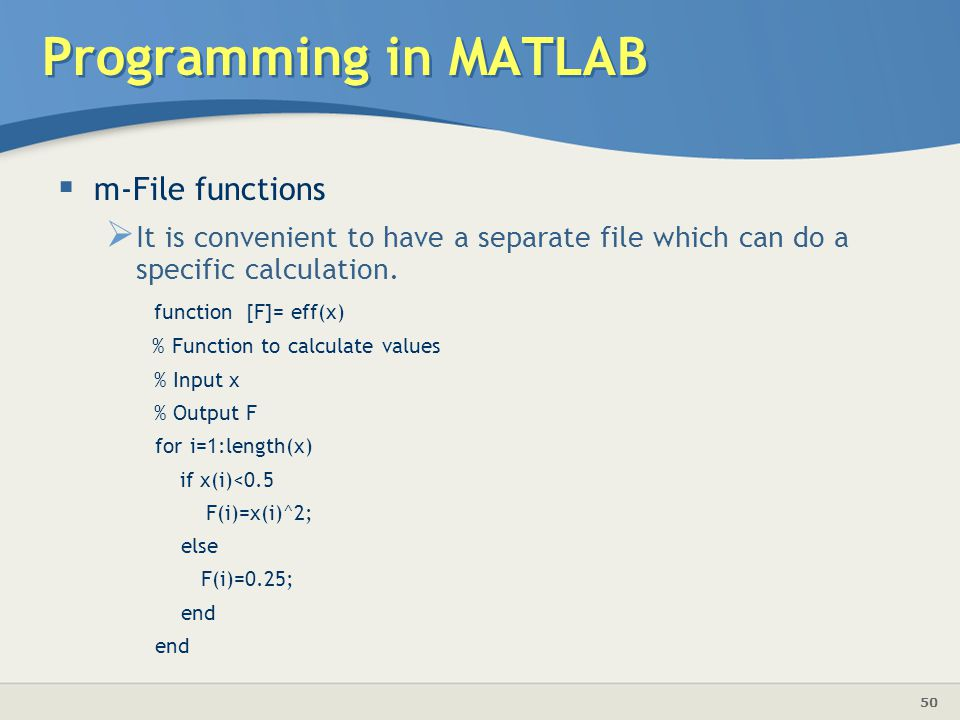 Programming in MATLAB m-File functions