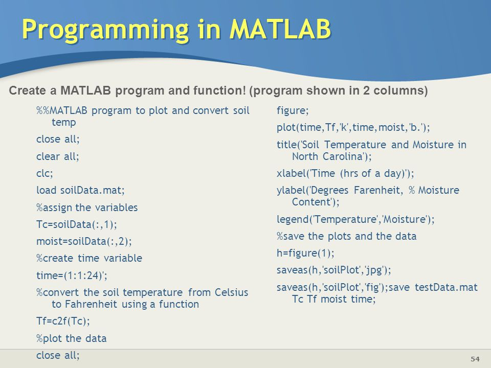 Programming in MATLAB Create a MATLAB program and function! (program shown in 2 columns)