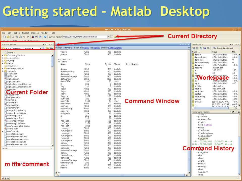 Getting started – Matlab Desktop