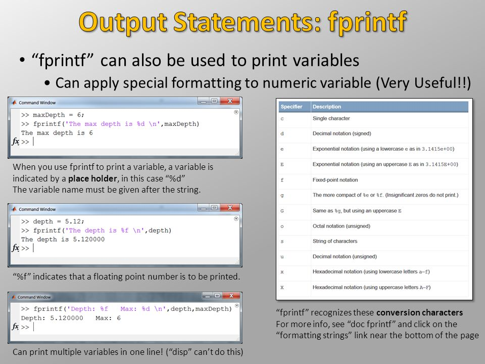 Output Statements: fprintf