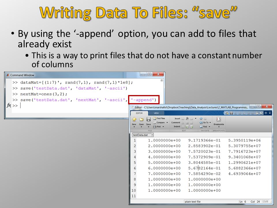Writing Data To Files: save
