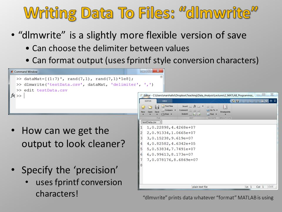 Writing Data To Files: dlmwrite