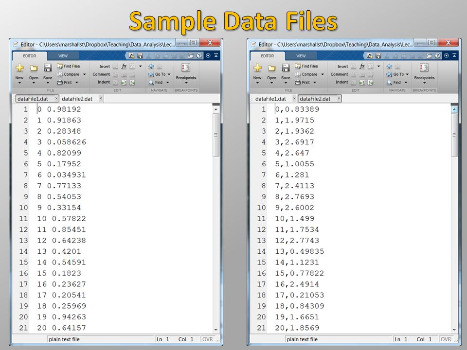 Sample Data Files