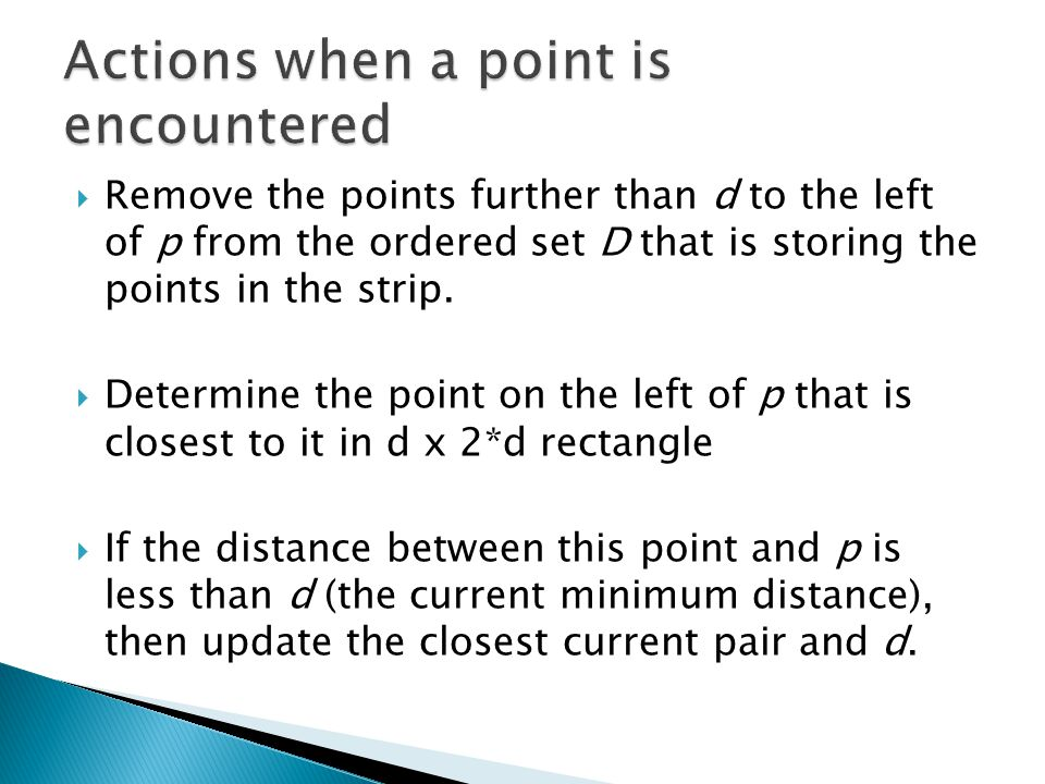 Actions when a point is encountered