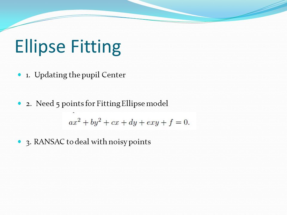 Ellipse Fitting 1. Updating the pupil Center