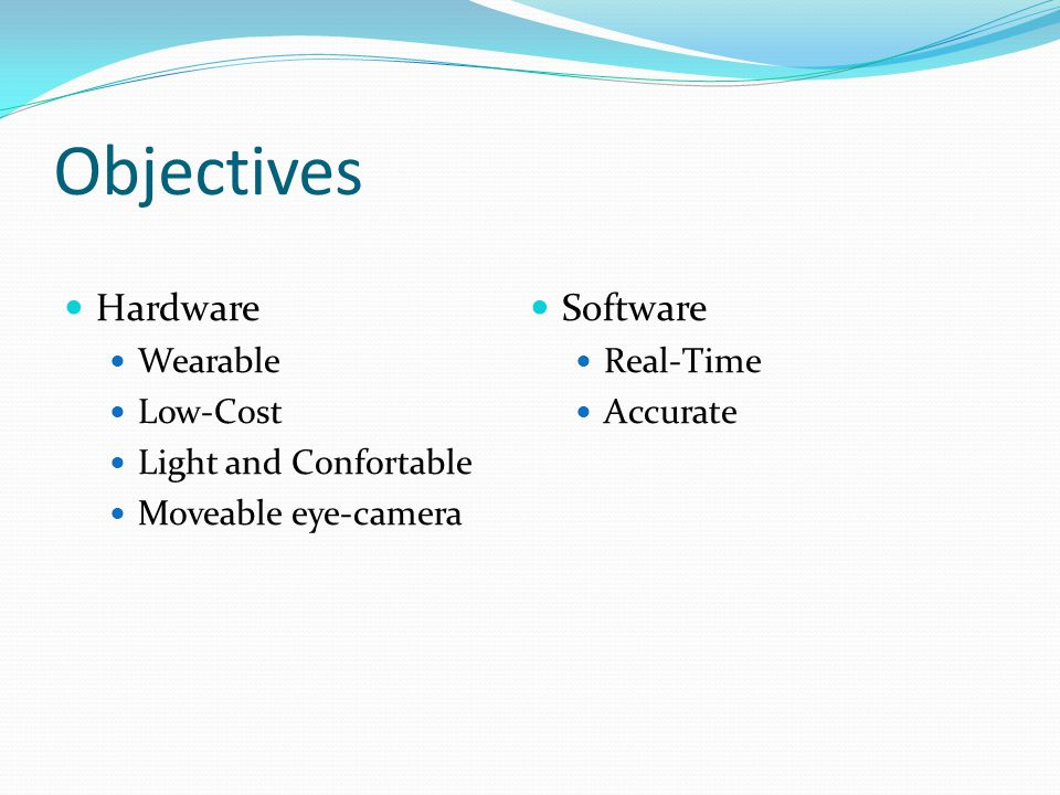 Objectives Hardware Software Wearable Real-Time Low-Cost Accurate