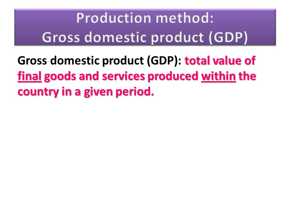 Production method: Gross domestic product (GDP)