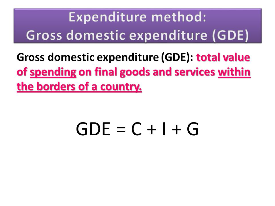 Expenditure method: Gross domestic expenditure (GDE)