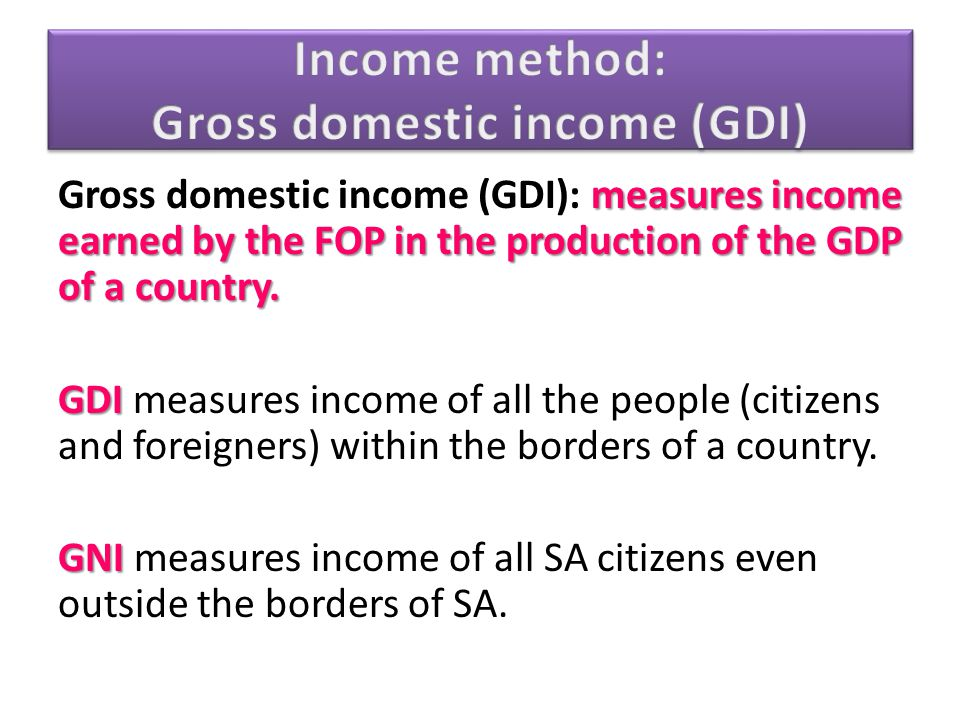 Income method: Gross domestic income (GDI)