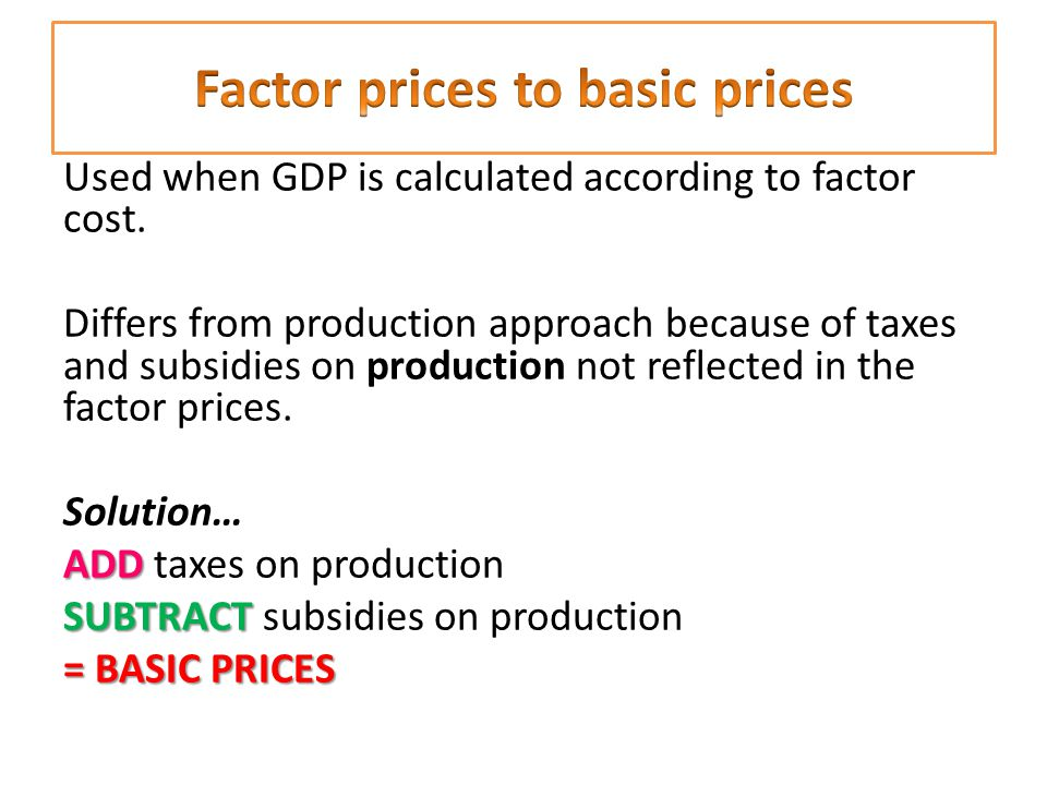 Factor prices to basic prices