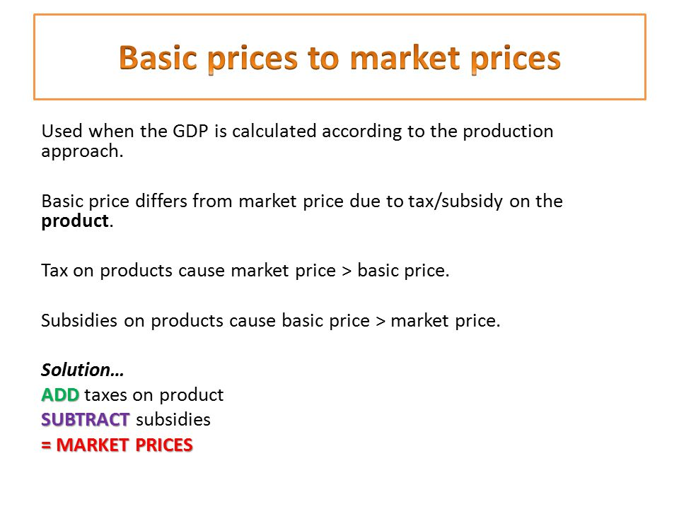 Basic prices to market prices