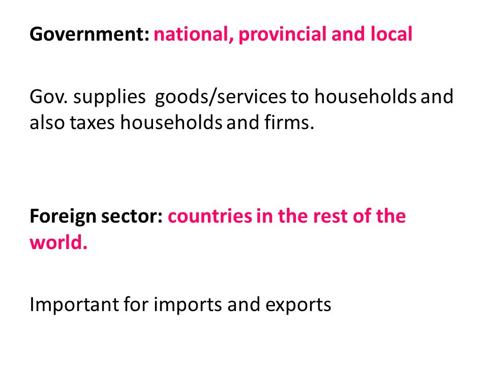 Government: national, provincial and local Gov
