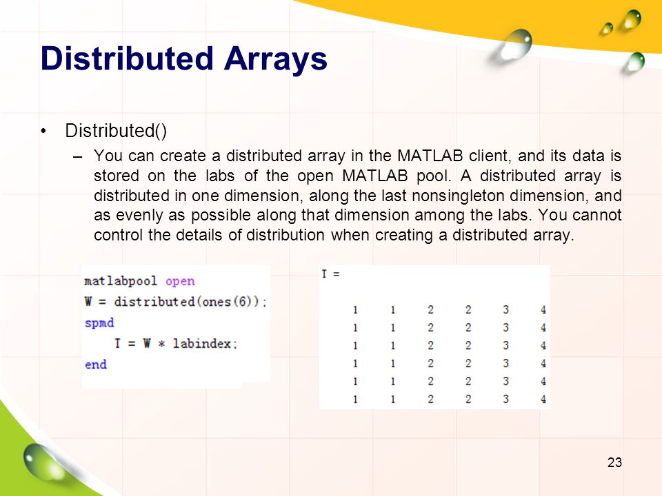 Distributed Arrays Distributed()