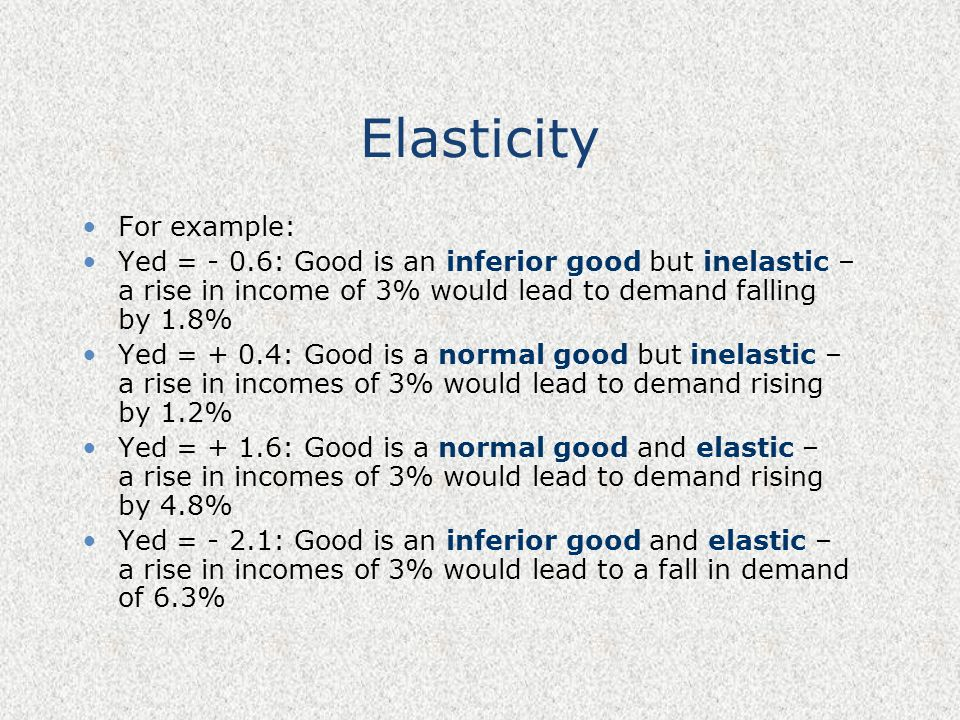 Elasticity For example: