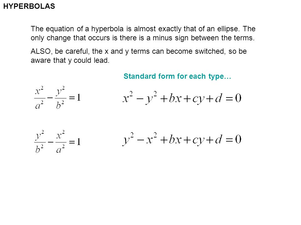Hyperbolas The Equation Of A Hyperbola Is Almost Exactly That Of An