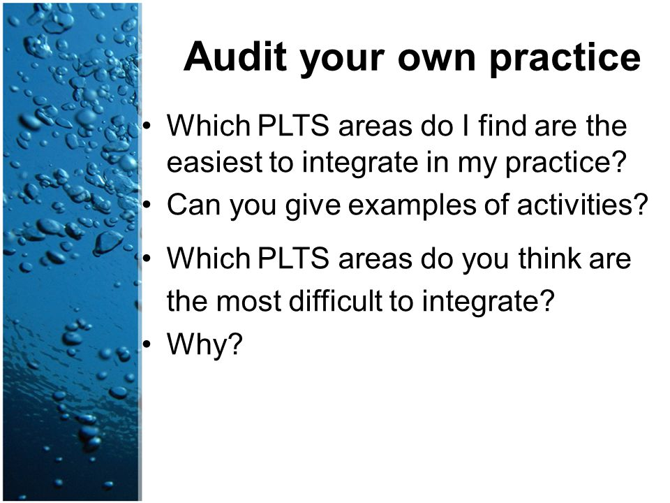 Audit your own practice