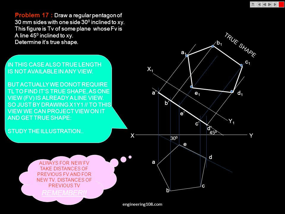 REMEMBER!! Problem 17 : Draw a regular pentagon of