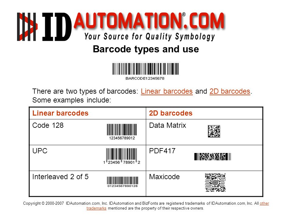 Barcode types and use There are two types of barcodes: Linear barcodes and 2D barcodes. Some examples include: