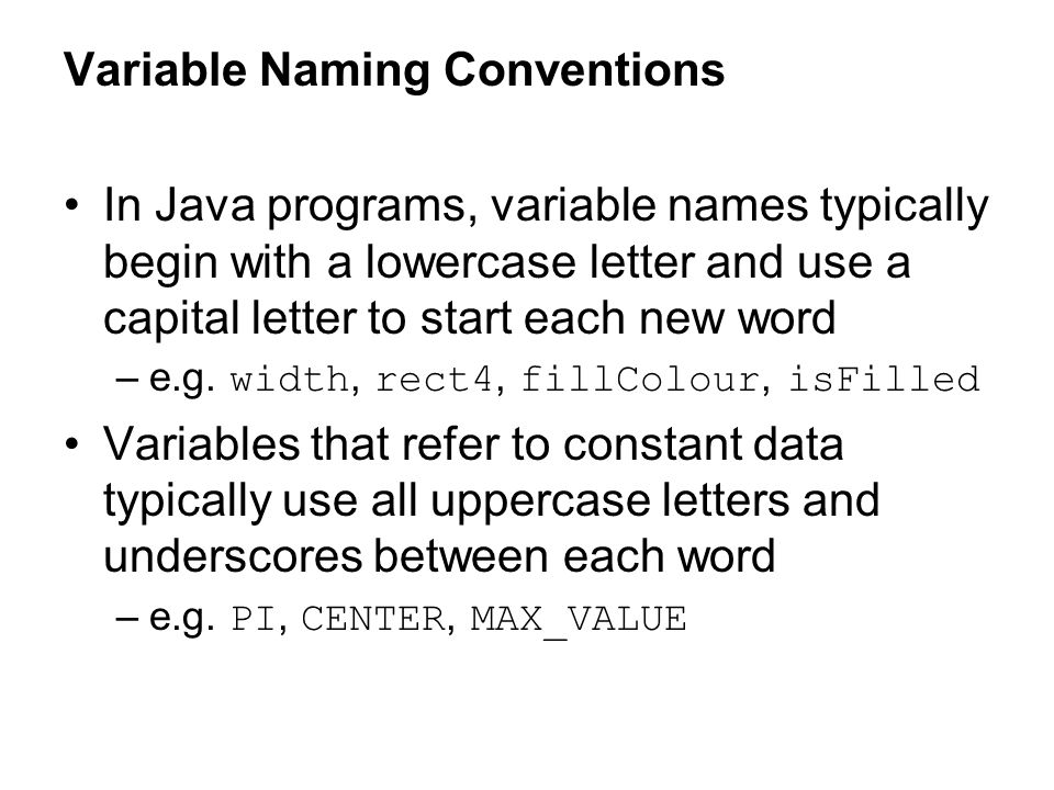 Variable Naming Conventions
