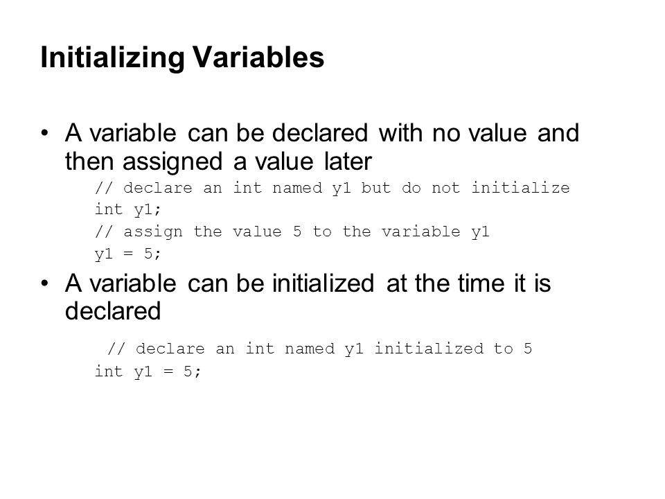 Initializing Variables