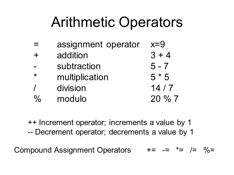 Arithmetic Operators = assignment operator x=9 + addition 3 + 4
